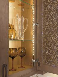 Inside Kitchen Cabinet Lighting by Led Strip Light Inside Texturized Glass Cabinet Light Decorating