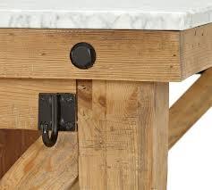 hamilton reclaimed wood marble top kitchen island pottery barn