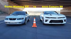 5 0 mustang vs camaro ss which of my cars is faster 2016 camaro ss vs 2000 turbo mustang