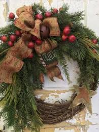 Live Decorated Christmas Wreaths by Primitive Christmas Wreath Rustic Christmas By Flowerpowerohio