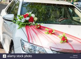 wedding car decoration on the current tradition stock photo