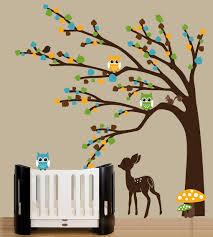 baby wall decals modern nursery wall decals green leaf tree decal deer sticker