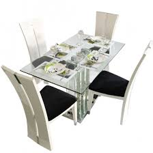 4 Seater Dining Table And Chairs Deco 4 Seater Glass Top Dining Table Set Woodys Furniture
