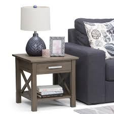 simpli home kitchener farmhouse grey storage end table 3axcrgl002