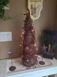 handmade 2 ft primitive twig cone tree with lights berries and
