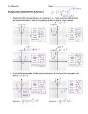 Quadratic Functions Worksheet Answers   Pre Calculus    Name