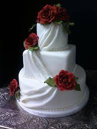 small fondant draped wedding cake with sugar roses flickr