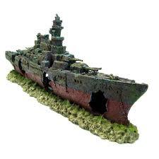 Aquarium Decorations Warship Cave Aquarium Ornament L 49cm Navy Battleship Ship Decor