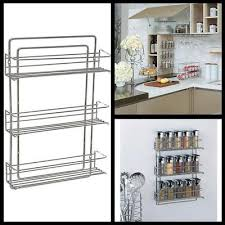 Wall Mount Spice Racks For Kitchen Decobros 3 Tier Wall Mounted Spice Rack Chrome Saganizer 4 Tier