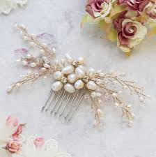pearl hair comb nita gold and freshwater pearl hair comb by lola and