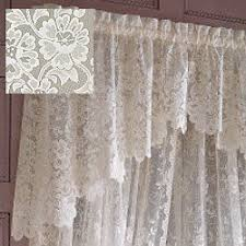 Lace Curtains Amazon Amazon Com Jc Penney Shari Lace Shaped Valance Cream Kitchen