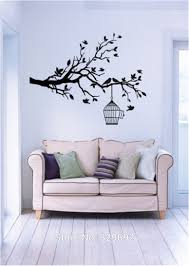 aliexpress com buy tree branch with leaves bird cage wall decals