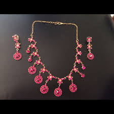 zircon necklace sets images Jewelry magenta color rosegold color earring necklace set poshmark jpg