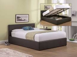 black brown leather ottoman storage bed prado single double