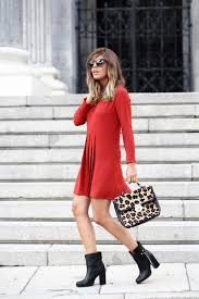 pretty red dress with black boots styles weekly
