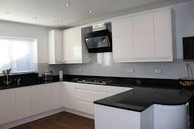 black worktop white cupboards kitchen white gloss handleless black quartz worktop modern