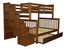 bunk beds twin over full stairway expresso trundle 895