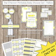 instant download baby shower invitations neutral baby shower yellow and grey chevron invitation party