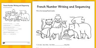 french number sequences worksheet france languages eal