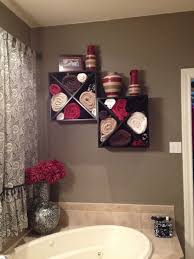 wine rack mounted to the wall over a large garden tub great for
