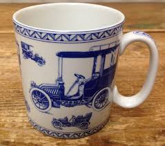 coffee mug spode blue room collection vintage motor cars