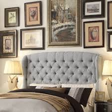 Gray Linen Headboard Moser Bay Furniture Feliciti Grey Tufted With Wings Queen