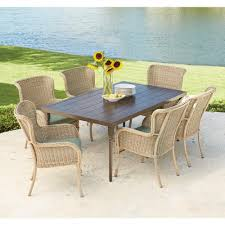 hampton bay corranade 7 piece wicker outdoor dining set with