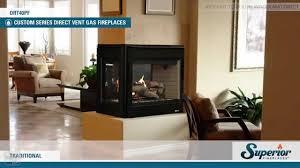 superior drt40pf direct vent peninsula gas fireplace youtube