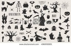 Halloween Cut Outs Awesome Set Cut Out Scary Halloween Stock Vector 496850065