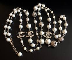 black white crystal necklace images Super rare chanel pearl necklace black white crystal cc gold jpg