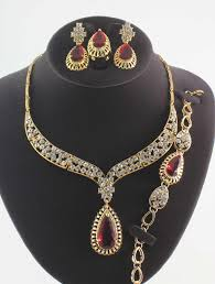 gold plated fashion necklace images Women new fashion 18k gold plated jewelry sets indian austrian jpg