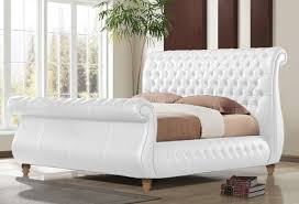 White King Size Bed Frame Time Living Swan White 6ft Kingsize Real Leather Bed Frame