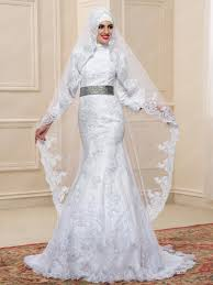 islamic wedding dresses high neck applique trumpet mermaid floor length muslim