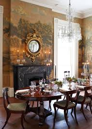Dining Room With Fireplace by Federal Georgian Dining Room With Mural In Warm Orangey Hue U0026 A