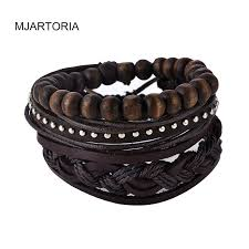 men bracelet bead images Mjartoria 1set multilayer leather bracelet men jewelry boho rock jpg