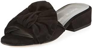 black gift wrap lyst stuart weitzman giftwrap suede bow slide sandal in black