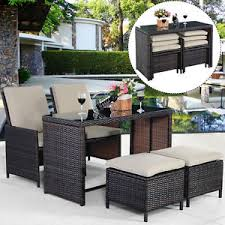 Patio Chairs With Ottoman New 5pcs Brown Cushioned Ottoman Rattan Patio Set Outdoor