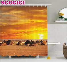 online buy wholesale ethiopian fabric from china ethiopian fabric farm house decor shower curtain african landscape of a small town with horizon skyline at dawn