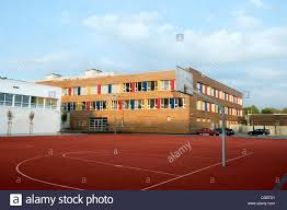 polish junior high building with colourful windows and