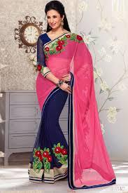 graceful combination designer saree pink blue chiffon net saree