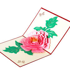 Chinese Birthday Invitation Cards Cheap 3d Pop Up Peony Flower Handmade Greeting Cards Postcards