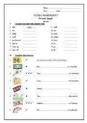english worksheets present simple he she it