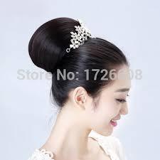 bridal hair bun new arrival hair bun comb clip in hair buns bridal hair