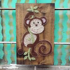 swinging monkey string art monkey nursery decor monkey wall