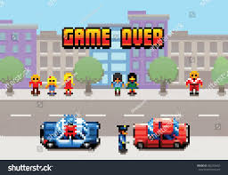 pixel art car game over car stopped by police stock vector 382355452 shutterstock