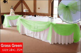 mesh ribbon table decorations grass green wedding top table decoration kit organza fabric swags