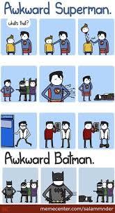 Batman Superman Meme - awkward superman vs awkward batman by salammnder meme center