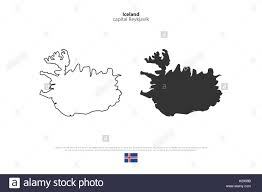 republic of iceland isolated map and official flag icons vector