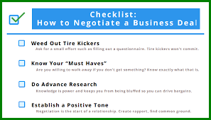 Format Of A Business Card Checklist For Negotiating A Business Deal