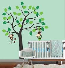 vinyl wall decal simple tree with cute monkey playing leaf trees vinyl wall decal simple tree with cute monkey playing leaf trees home decals kids wall sticker stickers bed baby room murals kids kid r867